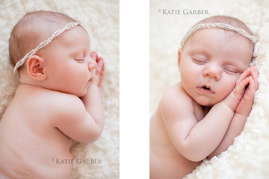 baby girl wearing beaded headband