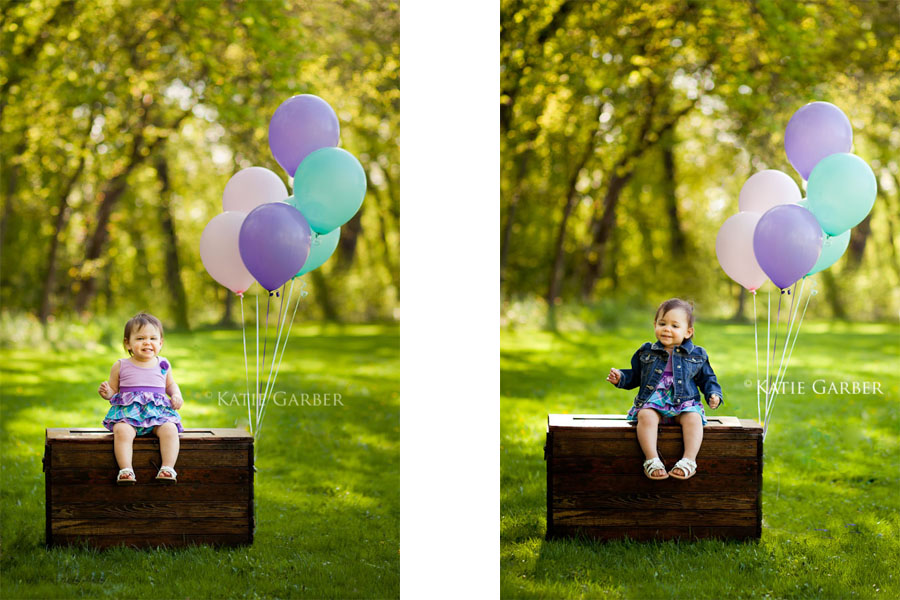 birthday baby with balloons