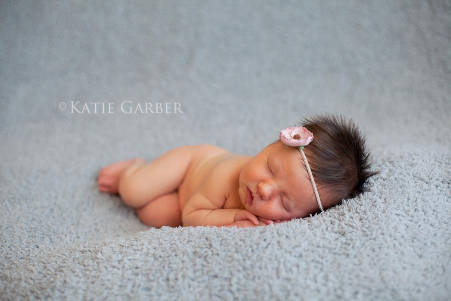 baby girl wearing flower headband