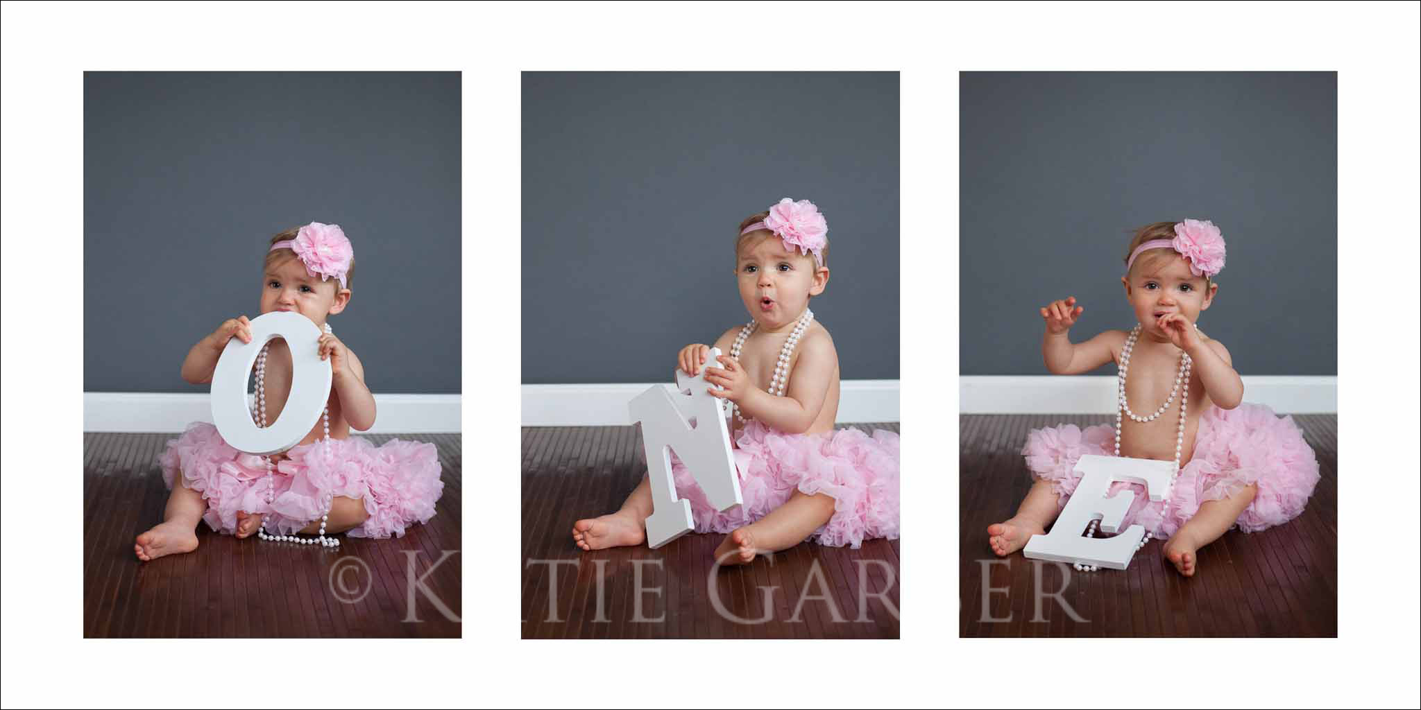 One year old girl pettiskirt pearls baby playing with pearls one year portrait in tutu