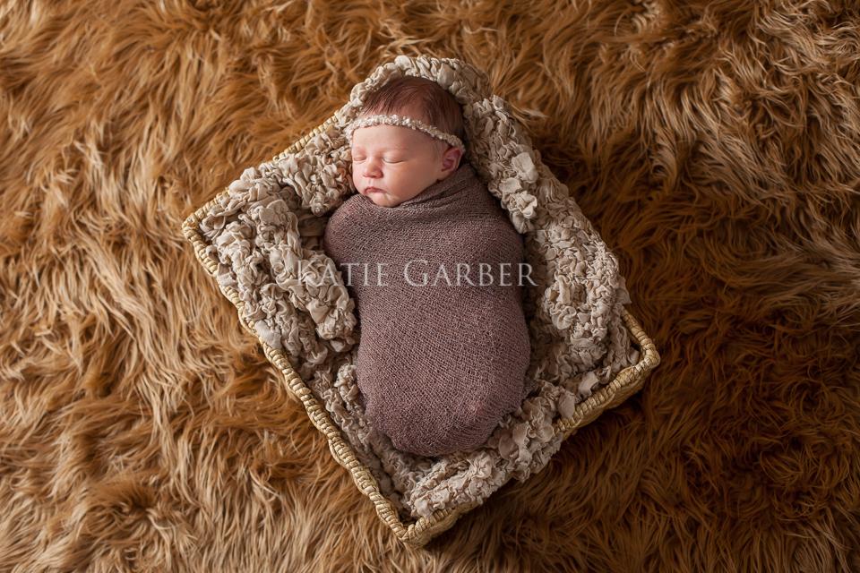 baby in basket on fur blanket