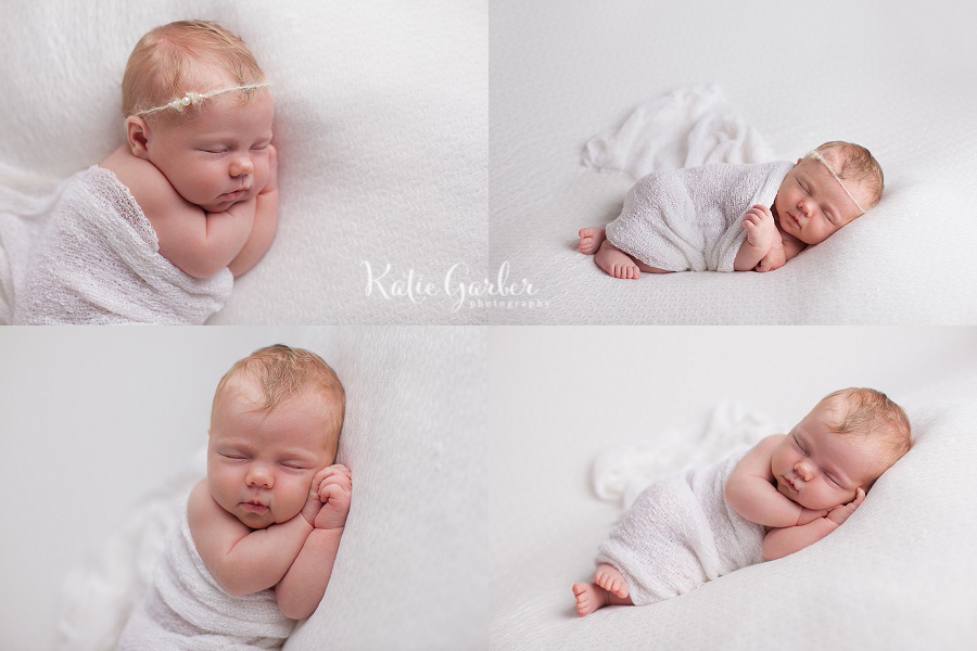 newborn photos with white blanket