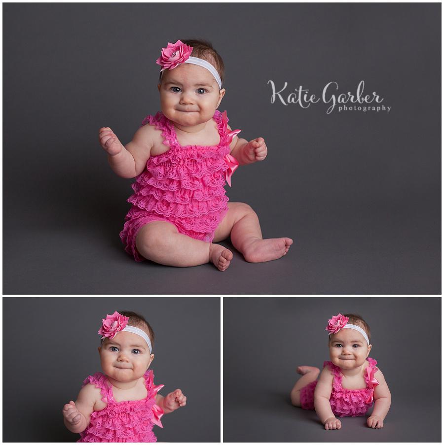 six month old baby girl pink pettiromper thunder gray seamless williamsport pa photographer