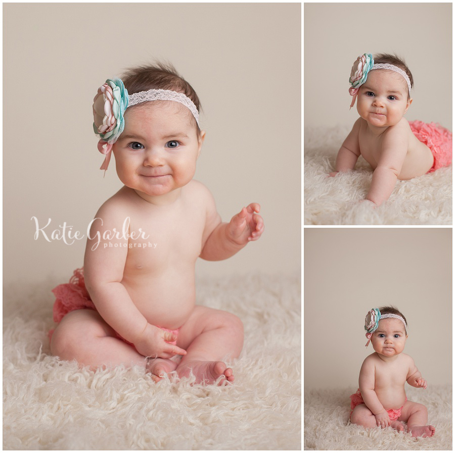 six month old baby girl williamsport pa photographer flower headband