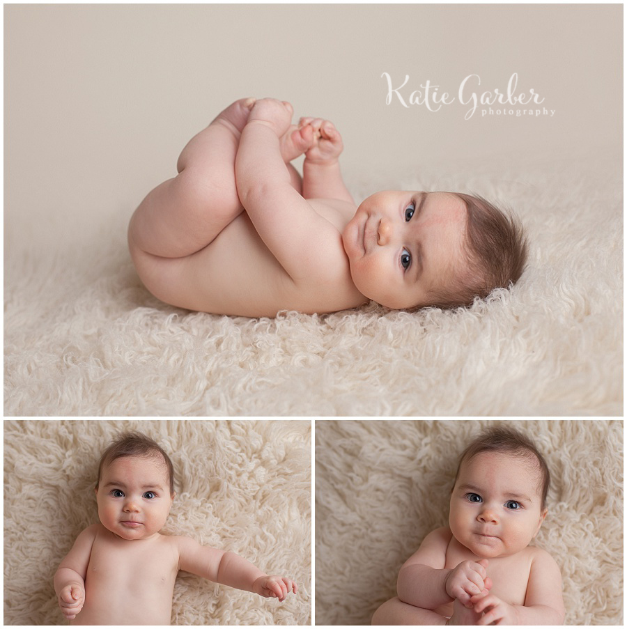 williamsport pa photographer six month old baby girl natural flokati