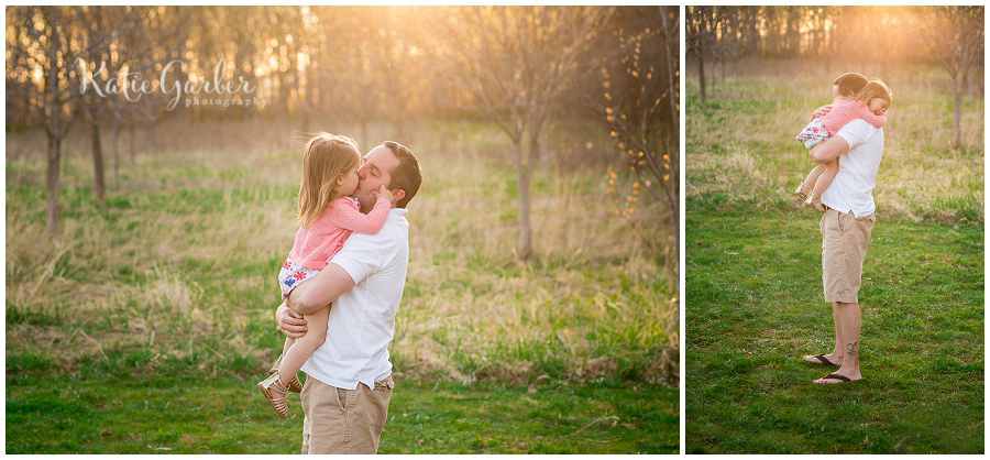father daughter backlit field