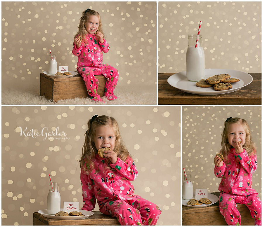 milk and cookies Christmas mini-session twinkle lights