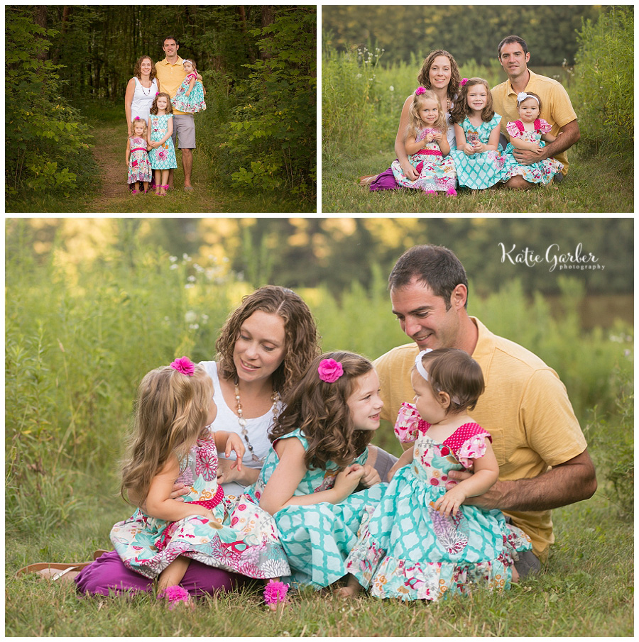 family of five outdoor portrait
