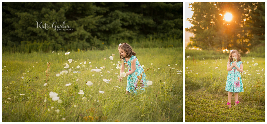 girl picking flowers photo