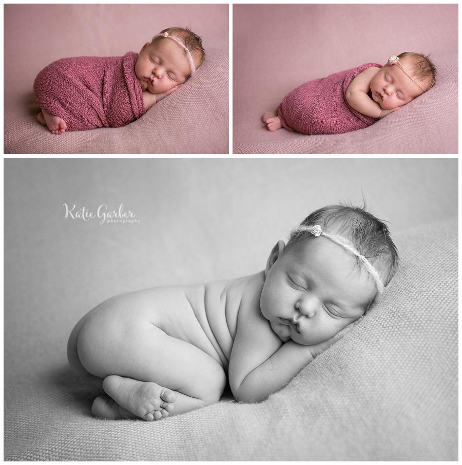 newborn baby girl poses