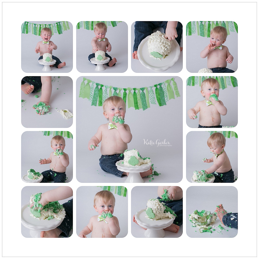 one year cake smash green