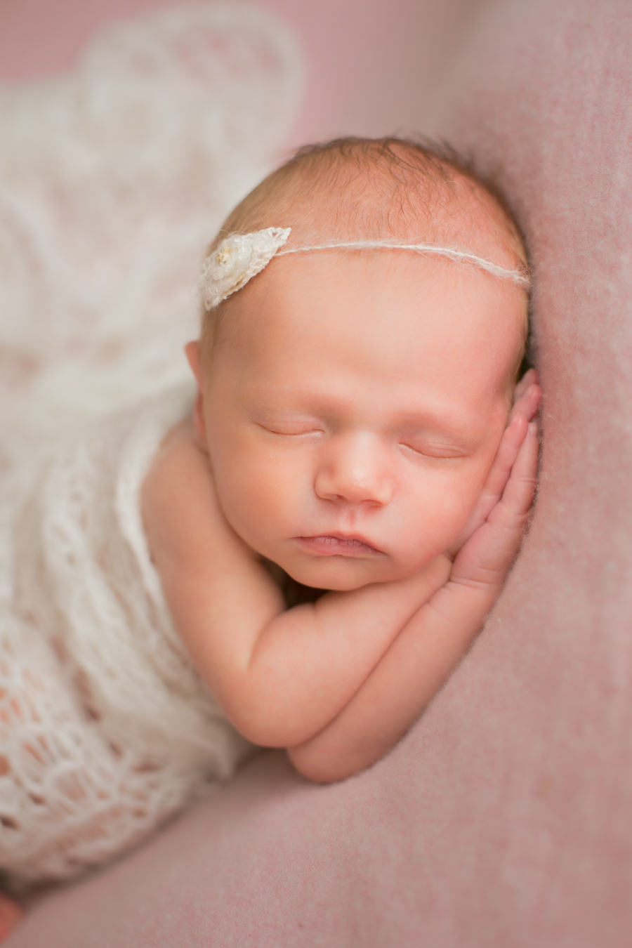newborn baby wrapped girl photo