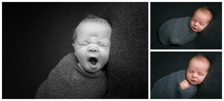 Katie Garber Photography – Williamsport PA newborn baby photographer – black and white baby yawning - Grayson 11-18